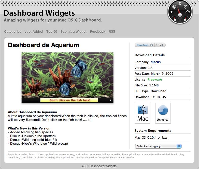 Dashboard de Aquarium v1.3